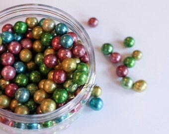 Metallic Sugar Pearls -Dragees 4mm -8mm