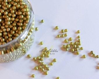 Metallic Gold Sugar Pearls -Dragees 4mm