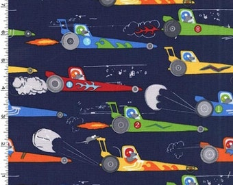 Traffic Jam - Rat Race Redux Fabric - Navy - Sold by the 1/2 Yard