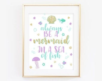 Mermaid Print, Mermaid Printable, Mermaid Birthday Decor, Under the Sea Birthday Decor, Unicorn Room Art, Unicorn Wall Art