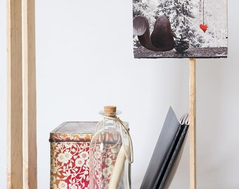 """photograph illustrated """"TRUE LOVE"""" /wooden framework/hand-printed photograph/Hand painted illustration/Wall decoration"""
