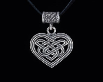 Celtic Heart Pendant, Celtic Knot, sterling silver, handmade
