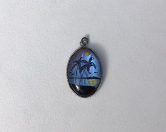 Vintage Painted Butterfly Wing Pendant