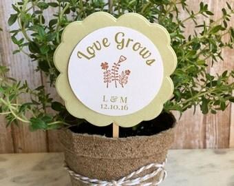 8 ~ Wedding favors, flower/plant wedding favors, personalized flower pot favors