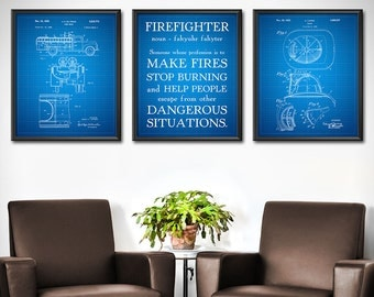 Firefighter Gift for Him Patent Prints SET OF 3 - Firefighter Decor - Firefighter Art Posters - Fireman Ladder - Paramedic - 1829