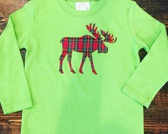 SALE: Boys Christmas Shirt 3T  // Christmas Moose Shirt 3T// Boys Plaid Moose Shirt 3T