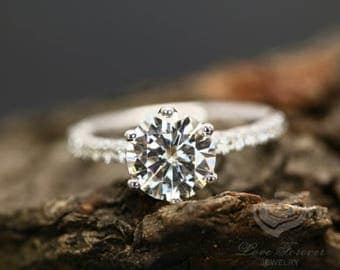 FOREVER ONE Certified 8mm/2 Carats Round Cut D-F Color Moissanite 14k White Gold Diamond Engagement Ring (Other Stone &Metals Available)