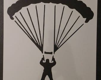 Parachute Jumper SkyDiver Sky Diver Custom Stencil FAST FREE SHIPPING