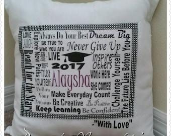 Graduation pillow; Motivational Pillow; Graduation Keepsake Pillow; Keepsake; Pillow; Decorative Pillow; Gift Pillow; Advice Pillow; Gift