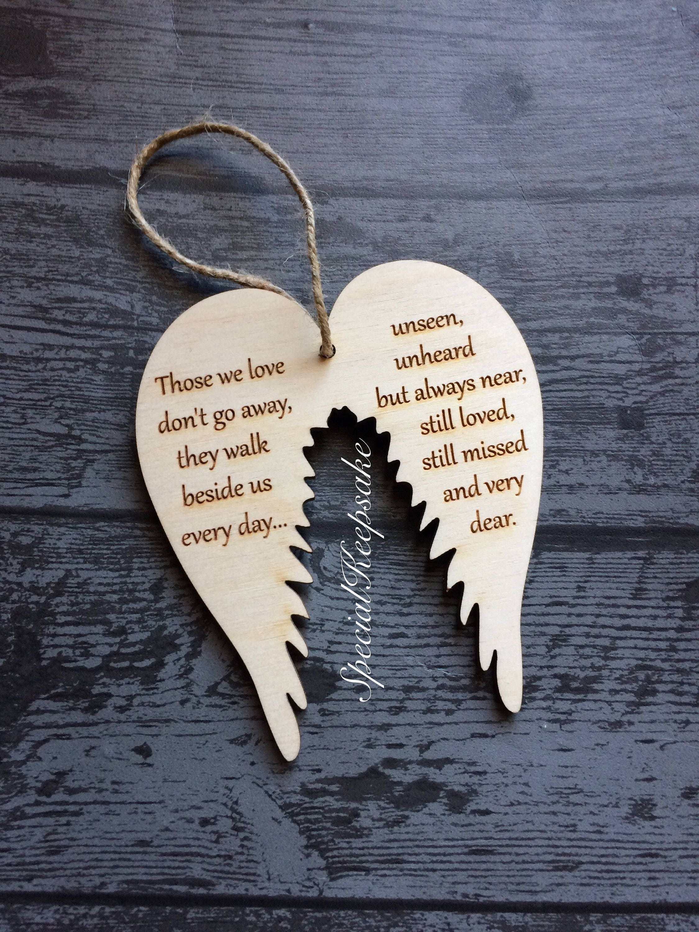 Angel Wings Wooden Christmas Tree Decoration Ornament Plaque