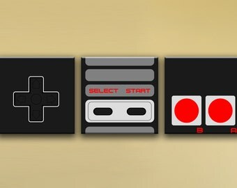 "NES Controller, 3-Piece Mural (72"" x 24"") - Canvas Wrap Print"