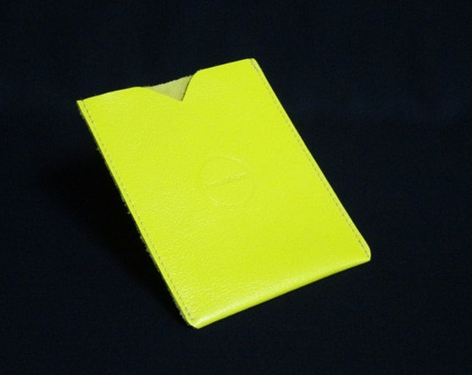 Passport Sleeve - Yellow - Kangaroo leather with optional RFID chip blocking - Handmade - James Watson