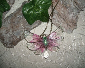Necklace pink fairy wings