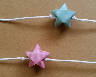 Pink and Teal Garland: Origami Garland - Handmade Baby Shower Garland - Paper Garland - Cotton Candy - Birthday Garland - Star Garland