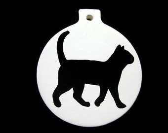 Ceramic Black Cat Ornament Hand Painted Made To Order Can Be Personalized , Cat Ornament , Ceramic Ornament , Personalized Ornament