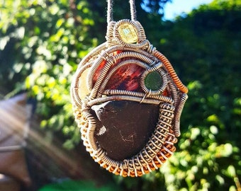 Yellow crystal, shell & black stone wire wrap
