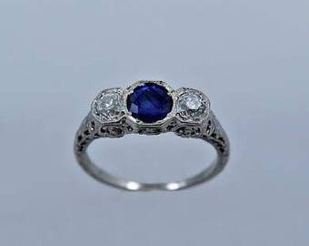 Art Deco Antique Style Diamond And Sapphire Engagement Ring With 0.45 Ct Diamonds And One ct Sapphire 14K White Gold