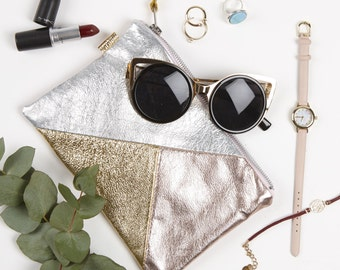Rose Gold Silver Metallic Leather Bag // Small Leather Clutch // Birthday Gift // Wedding Clutch // Leather Travel Pouch // Clutch Purse