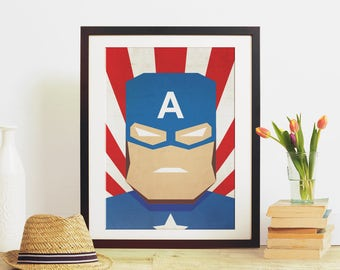 Captain America, Marvel, Vintage, Minimal, Printable Digital Download, Large Poster, Digital Poster