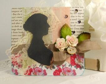 Jane Austen Silhouette Card, Jane Austen Card, Shabby Chic Card, Regency Card, Friendship Card, Pride and Prejudice Card