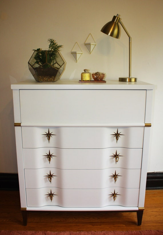 items similar to sold refinished vintage midcentury modern tall dresser white with gold. Black Bedroom Furniture Sets. Home Design Ideas