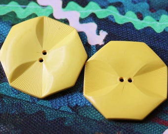 Set of 2 Canary Yellow Celluloid Sew Thru Wafer Buttons