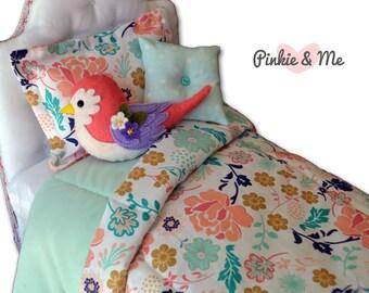 "18"" Doll Bedding 4 Piece Set ~ Bird And Flower"