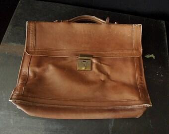 Leather Satchel Bag - Briefcase Tote - Worn Rustic Tan Men's Bag - Vintage Attache