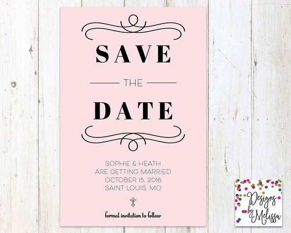 modern save the date card wedding engagement personalized