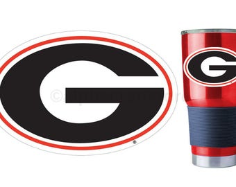 "UGA Georgia Bulldogs G Premium Vinyl Decal for Phone, YETI, RTIC, Ozark Insulated Rambler Tumbler Cups 4""W"