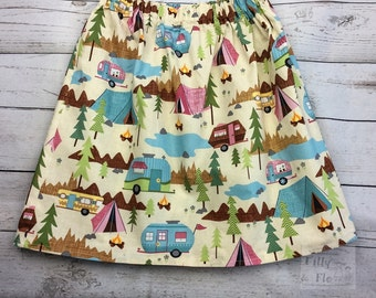 Camping Print - Cotton Skirt - Age 7-8 - Caravan - Tent - Forest - Campsite - Summer Holiday - Vacation - Girlswear - Elastic waist - Fun