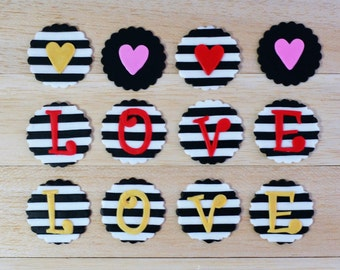 Valentine's Day fondant topper, heart fondant cupcake topper, love cupcake topper, black and white stripe cupcake topper