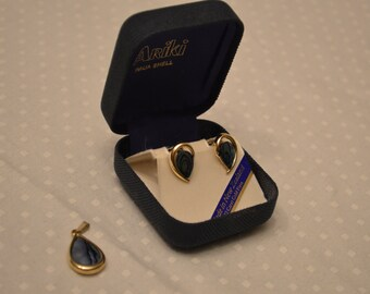 Ariki Paula Shell 22 Carat Gold Plated Clip-On Earrings & Pendant Set