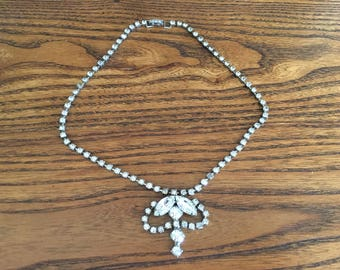 Vintage Clear Crystal Rhinestone Choker Necklace 1169