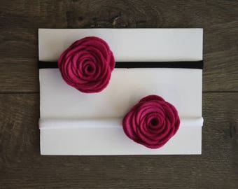 Fuchsia Single Rose Headband