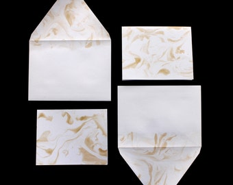 Blank Stationery Set :  Metallic Gold Marble