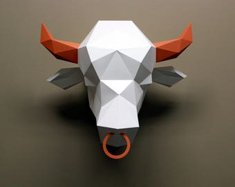 Paper Bull Head | Lowpoly | Faux Taxidermy | Animal Head | Paper Trophy | Animal Heads for Walls | Papercraft Head | Fake Animal Head