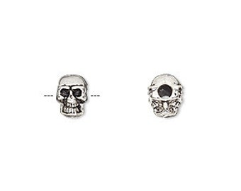 Silver Skull Beads, Antiqued Silver Charm, Double Sided Skull, 2mm Hole, 8x6mm, 10 each, D934