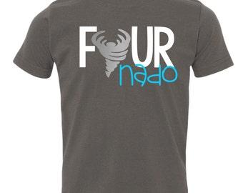 Fournado, Funny Kid's TShirt, Fourth Birthday, 4th Birthday, Four, Four Shirt, Birthday Outfit, Birthday Shirt, Birthday Boy, Tiny Terror