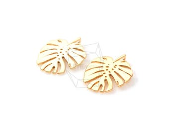 PDT-1109-MG/2PCS/Monstera Leaf Pendant/16mm x 20mm/Matte Gold Plated over Brass