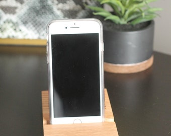 Oak Cell Phone Dock | Personalized Custom Engraving | Desktop Phone Holder Dock| iPhone Droid Charging Station