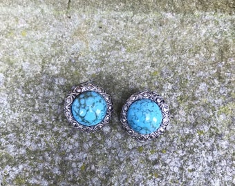 Turquoise and silver earrings, vintage turquoise earrings, turquoise glass earrings, vintage earrings, silver and turquoise earrings, blue,