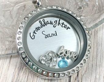 Granddaughter Necklace, Floating Locket, Personalized Granddaughter, Birthday Gift, Granddaughter Locket, Girls Jewelry, Hand Stamped Locket