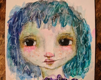 Felice- An Original watercolor painting on 6x6 paper by Amber Button
