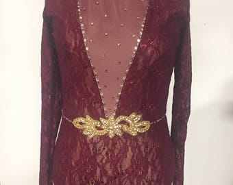 Adult medium maroon lace bodysuit