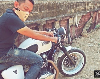 The raw custom moto mask rider : half face cafe racer mask (Masque moto cuir) Ivory**