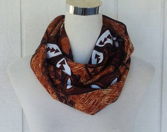 Infinity Scarf - Scarves - Accessories - Brown Scarf - Scarf - Loop Scarves -  Scarf - Upcycled Scarf - Vintage Scarf - Retro