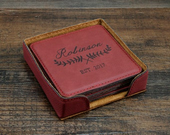 Personalized Coasters, 3rd Anniversary Leather Coasters, Leather Coasters, Custom Engraved Coasters, Personalized Gift for Couples,