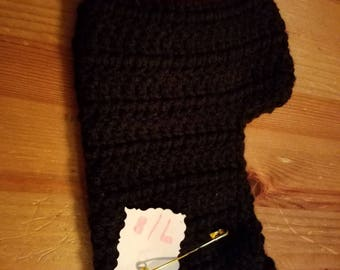 Slipper socks black with red toes.