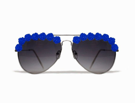 Los Angeles Royal Blue Aviator Coachella Festival Flower Sunglasses